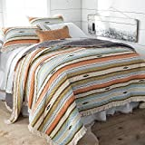 Southwest Ruffle Edged Blue, Orange, Green and Brown Stripe 3 Piece Quilt Set Size Full/Queen