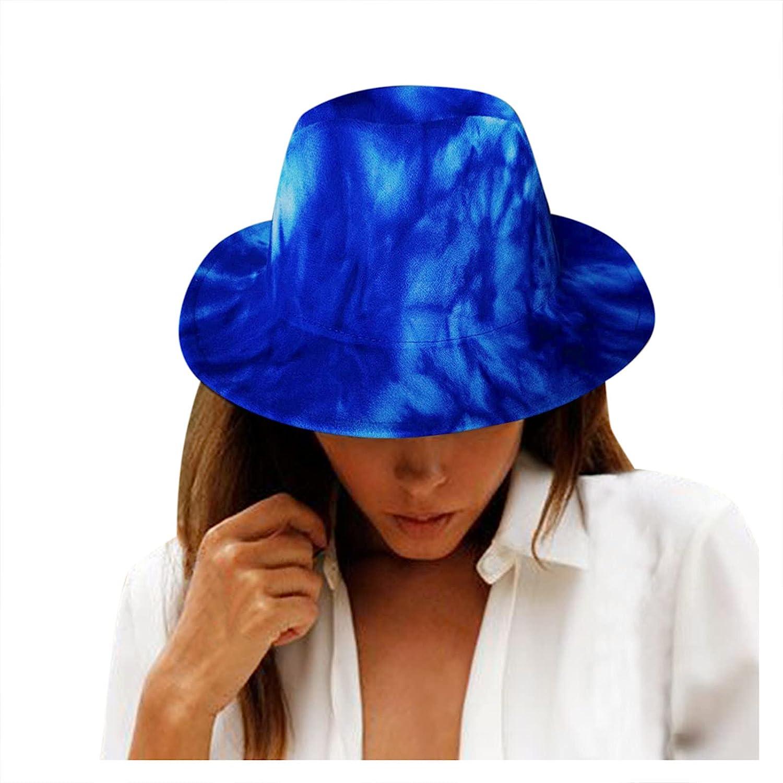 YYCHUN Womens Jazz Hats, Tie Dye Fedora Hats Summer Outdoor Sun Protection UPF 50+ Panama Hats Wide Brim Sun Hats