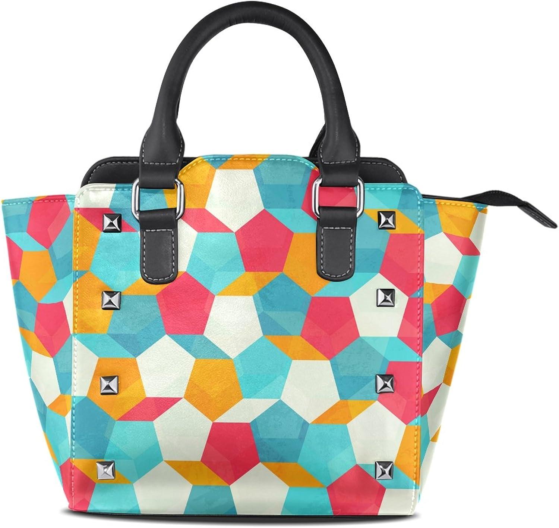 My Little Nest Women's Top Handle Satchel Handbag Retro colorful Mosaic Ladies PU Leather Shoulder Bag Crossbody Bag