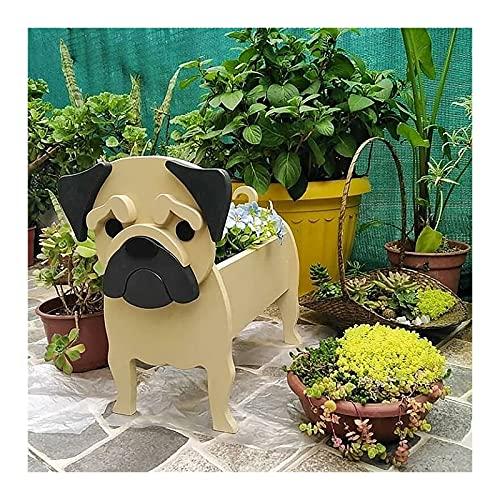 Golden Retriever Planter , Pug Planter French Bulldog Planter ,Chihuahua Dog Planter Corgi Planter, Pattern, Wood Pet, Golden Retriever Planter, Animal Pot (Flowerpot with Pug Design)