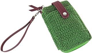 Boho Crochet Wallet w/Faux Leather, Small Organizer Wristlet Clutch w/Zipper