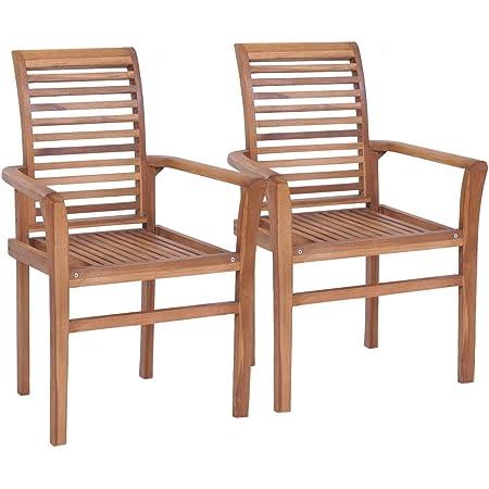 vidaXL 2x Solid Teak Stacking Dining Chairs Kitchen Dinner Furniture Seat