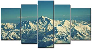 So Crazy Art - Canvas Print Wall Art Painting For Home Decor,Mount Everest Snow Mountain Blue Sky 5 Pieces Panel Paintings Modern Giclee Stretched And Framed Artwork Oil The Picture For Living Room Decoration,Landscape Pictures Photo Prints On Canvas