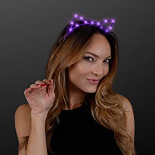 Starlight Kitty Cat Ears Headband with Purple LED Lights