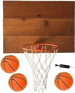 FATPLANTS Decorative, Indoor Wooden Basketball Backboard with 9 inch Hoop, 3 Basketballs and Pump