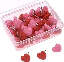 Qeesio 50Pcs Love Heart Push Pins Message Boards Signs Tacks Map Indicator Location Pins
