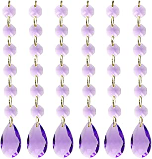 Poproo Teardrop Octagon Crystal Glass Beads Pendant for Chandelier Lamp Curtain Decor, 6-Pack (Purple)