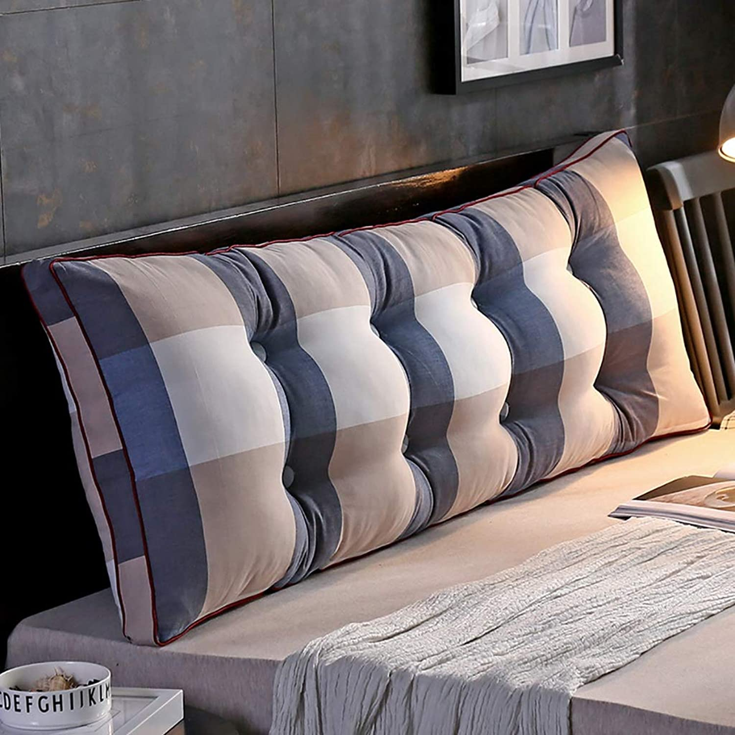 Headboard Bed Backrest Cushion Bed Cushion Bedside Pillow Cotton Fabric Soft Large Pillow Lumbar Support Detachable and Washable 17 Solid colors 5