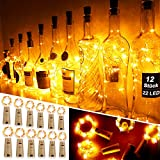 Mr.Twinklelight Wine Bottle Lights,12 Pack 2.2M 22LEDs Fairy Lights Battery Operated with Cork Copper Wire String Lights, for DIY, Party, Decor, Christmas, Halloween, Wedding(Warm White)