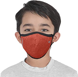 WILDCRAFT SUPERMASK W95 Plus Reusable Outdoor Respirator with neckband for Kids (Small) (PACK OF 3, Pointel: Orange_Pupkin))