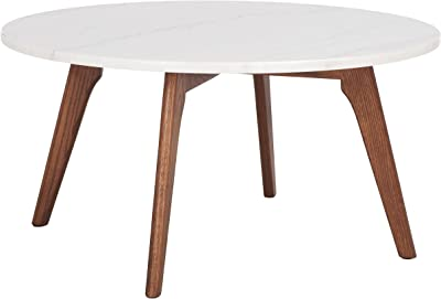SAFAVIEH Home Collection Syrio Marble/Walnut Brown Round Coffee Table COF8100A