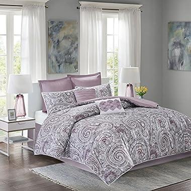 Comfort Spaces - Comforter Set King Bedding Set - Kashmir 8 Piece Plum Purple - Paisley Print with Solid Plum Purple Reverse - Hypoallergenic Soft Microfiber Lightweight All Season King Comforter