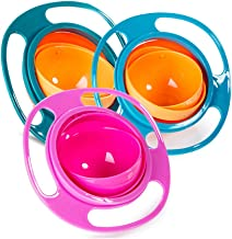 Song Qing 3pcs Magic Gyro Bowl 360 Degree Rotate Spill-Proof Bowl with Lid Plastic Creative Dishes Practice Feeding Bowls for Kids (Blue + Green + Rose)