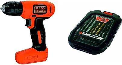 Black+Decker A7186 - Pack de 16 piezas para atornillar y taladrar, metal y titanio, color negro + BDCD8-QW - Taladro atornillador sin cable, batería 1.5 Ah, 7.2 V, color negro y naranja
