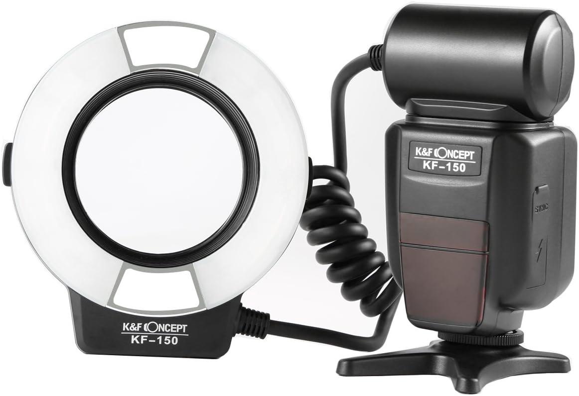 最新のTTL自動調光機能を搭載!K&F Concept KF150 TTLマクロリングフラッシュ Nikon DSLR適用