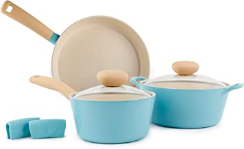Neoflam Retro 5pc Ceramic Nonstick Cookware Set with Silicone Hot Handle Holder PFOA Free Pots and Pans with Integrated St...