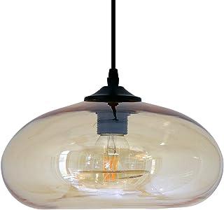 Luminaire Bronks, suspension verre fumé, 40 W, orange, ø 18 x H 30 cm