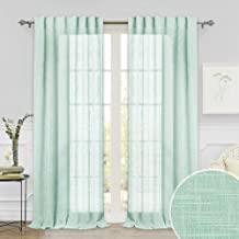 Sheer Curtains 108 inches Long - Semi Sheer Linen Curtains Light Filtering Privacy Drapes for Guest Room Dining Farhouse Garden Cabin Hallway Pool House Sliding Door, Aqua, 52 x 108 per Panel, 2 Pcs