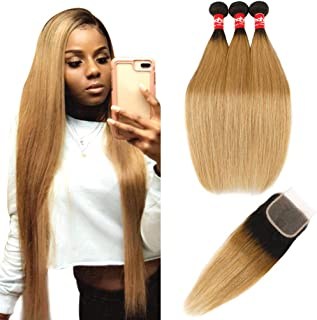 Haha Ombre Brazilian Virgin Hair Straight Ombre Hair 3 Bundles With Closure 2 Tone Dark Roots Honey Blonde Human Hair Bundles Weave with Lace Closure Ombre Hair Extensions T1B/27, 22 24 26+20