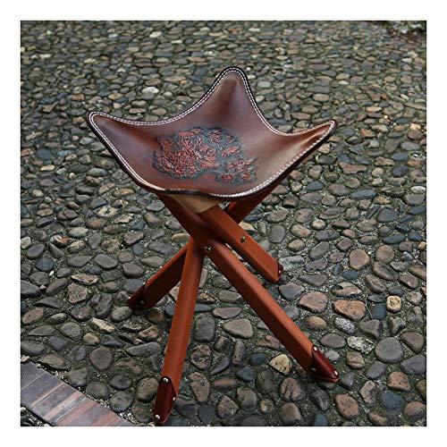 Klassischer Leder-Klappstuhl mit Holz-Klappstühlen, handgefertigter Bezug aus echtem Leder Modern Größe Dunkelbraun