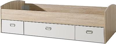 FORTE Lupo Jugendbett, Grau Matt kombiniert mit Weiss, 203,6 x 96 x 65 cm