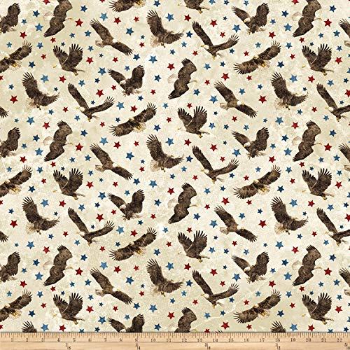 Northcott Stars & Stripes 7 Eagle Toss Beige Quilt Fabric
