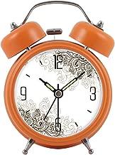 目覚まし時計ルミナスミュートスリーピーレイジーダブルベルモダンファッションベッドシンプルで美しい創造性パーソナリティホームマルチカラーオプション9CM * 5CM * 12CM CHENGYI (Color : Orange)
