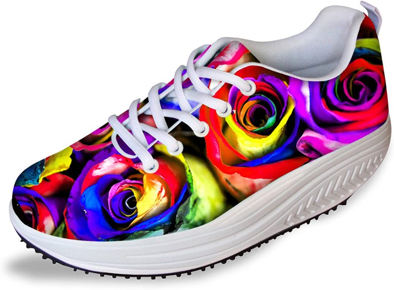 Showudesigns colorful Flower Print Lightweight Sneaker Walking shoes for Women