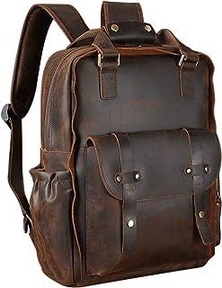 TIDING Men's Vintage Leather Backpack 15.6 Inch Laptop Bag School Travel Daypack