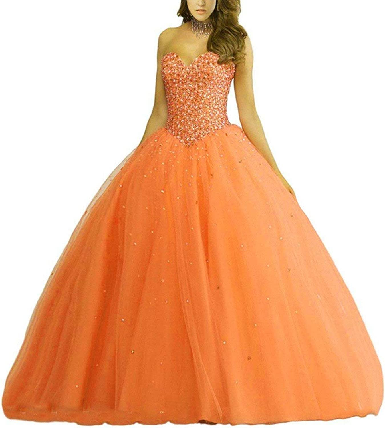Vantexi Women's Sweetheart Beading Tulle Quinceanera Dresses Formal Evening Prom Gowns