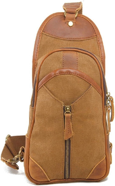 Cvbndfe Herren Schultertasche Einfache Retro Outdoor wasserdichte Leinwand Brusttasche Schultertasche Messenger Bag (Farbe   Khaki)