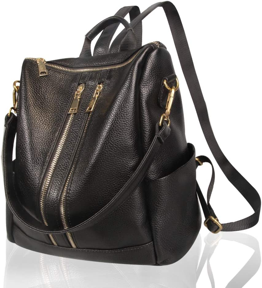 Front Double Zipper Women Work Spring new Year-end gift work one after another Convertible Backpack Purse Black