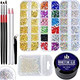 Nail Art 15ml No Wipe Rhinestones Glue Gel Kit Adhesive Resin Gem Stone Jewelry Diamond Gel Nail Polish Clear Decoration With Nail Crystal Rhinestone&Tools(UV Light Cure Needed) For Nail Art Design