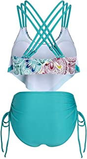 Sutinna Vacaciones de Viaje Bikini Casual Traje de baño de Mujer Floral Dividido de Cintura Alta