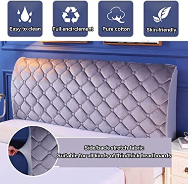Thicken Plush Quilted Head Cover King Queen Size All-Inclusive Universal Headboard Cover Bed Back Soft Velvet Protector Cover