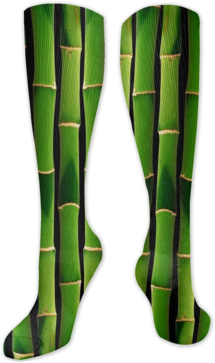 Green Bamboo Texture Knee High Socks Leg Warmer Dresses Long Boot Stockings For Womens Cosplay Daily Wear
