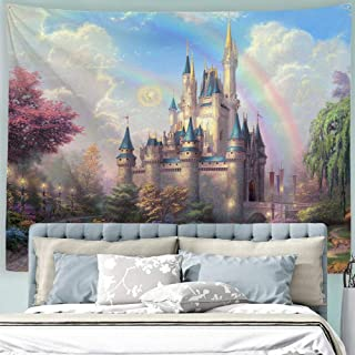 Baccessor Fantasy Castle Tapestry Colorful Rainbow Forest Princess Lake White Swan Fairy Tale World Wall Hanging Tapestry for Girls' Bedroom, 90