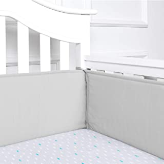 TILLYOU Cotton Collection Baby Safe Crib Bumper Pads for Standard Cribs Machine Washable Padded Crib Liner Thick Padding for Nursery Bed Safe Crib Guards Protector de Cuna, 4 Piece, Pale Gray