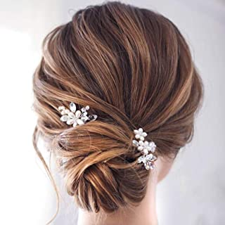 Catery Flower Bride Wedding Hair Pins Crystal Pearl Hair Set Jewelry Headpieces Bridal Decorative Hair Accessories for Women Pack of 2 (Silver)