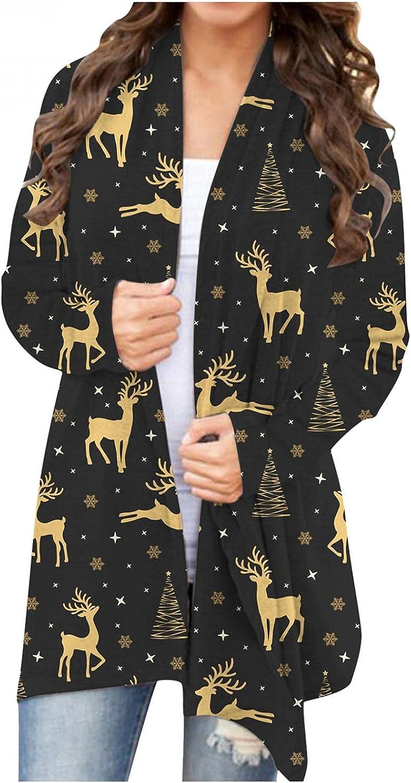 Sweaters for Women,Halloween Long Sleeve Open Front Cardigan Funny Cute Pumpkin Black Cat Ghost Lightweight Coat