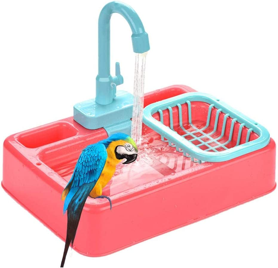 Keersi Bird Automatic Bathtub Swimming Pool Toy Bath Shower Water Dispenser for Parrot Budgie Parakeet Cockatiel Conure Lovebird Finch Canary African Grey Cockatoo Amazon Macaw Cage Healthy
