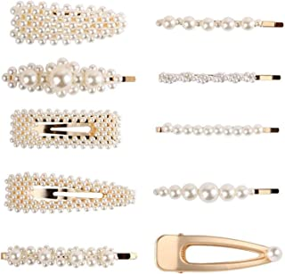 DELFINO Pearls Hair Clips for Women Girls Set of 10 Set Bows/Clips/Ties for Birthday Valentines Day Gifts Bling Hairpins H...