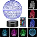 3D Illusion Star Wars Night Light, Three Pattern and 7 Color Change Decor Lamp - Perfect Gifts for Kids and Star Wars Fans from New Hiya