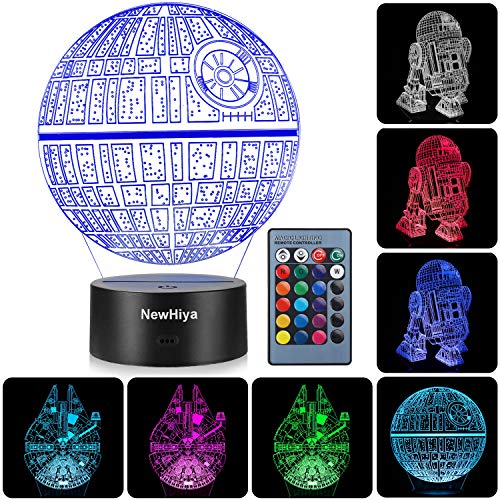 Our #6 Pick is the NewHiya 3D Illusion Star Wars Night Light with 3 Patterns and 7 Colors