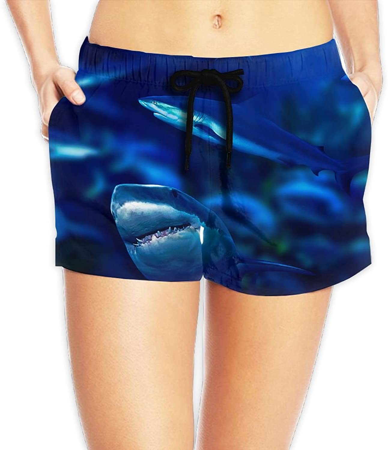 Sharks Board Shorts Breathable Summer Casual Shorts With Pockets For Womans White