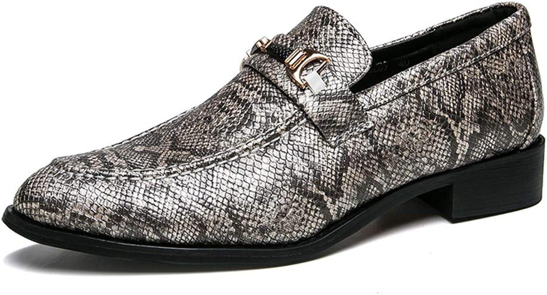 Herren Lederschuhe Oxford Casual Low-Top Slip Slip Slip On rostfreie Metallschnalle Dekoration Formale Schuhe,Grille Schuhe (Farbe   Grau, Größe   43 EU)  a4aa37