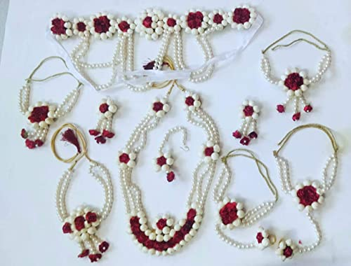 Jewellery Pearl Designer White Red Jewellery Set With 10 Items For Women Girls Mehandi Haldi Bridal Baby Shower Function SP5