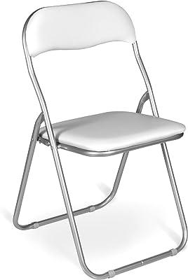Dmora Set di Sei sedie Pieghevoli, Colore Bianco, cm 43 x 47 x 78