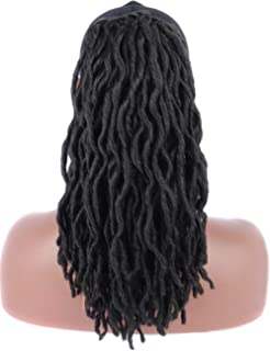 Kalyss Off Black Synthetic Faux Locs Braids Hair Extensions Drawstring Crochet Twists Braided Ponytail Hairpiece with Two Clips