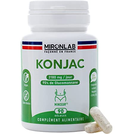 Konjac 3 180 mg/jour | Coupe Faim Naturel & Végétal | Dosage Élevé : 95 % de glucomannane |Action Renforcée et Résultats Durables | Riche en fibres | 90 gélules végétales | Façonné en France MironLab®